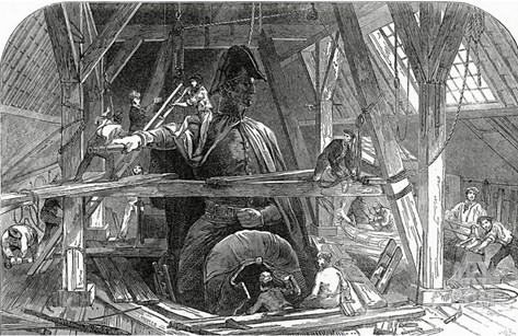 Mr Wyatt's Foundry, Published in the Illustrated London News, 11th July 1846 (Engraving) Stretched Canvas Print