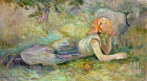 Shepherdess Resting, 1891 Stretched Canvas Print