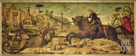 St. George Killing the Dragon, 1502-07 Stretched Canvas Print