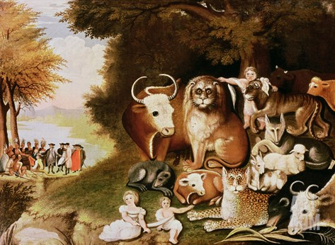 The Peaceable Kingdom, 1832-34 (See also 84503) Stretched Canvas Print