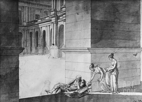 Two Young Girls Bringing Bread to Homer Asleep, C.1794 (Pen and Indian Ink on Paper) Stretched Canvas Print