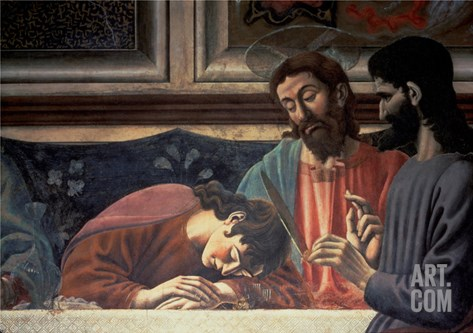 The Last Supper, Detail of Judas, Christ and St. John, 1447 (Fresco) (Detail of 85172) Stretched Canvas Print