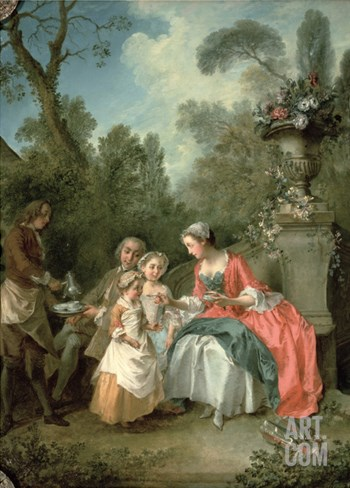 A Lady and a Gentleman in the Garden with Two Children c. 1742 (Detail) Stretched Canvas Print
