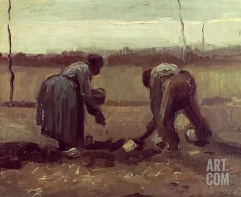 Two Peasants Planting Potatoes, 1885 Stretched Canvas Print