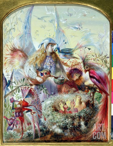 Fairies and a Bird's Nest (W/C with Bodycolour and Gum Arabic on Paper) Stretched Canvas Print