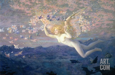 On the Wings of the Morning, 1905 (W/C Heightened with Bodycolour and Gold Paint) Stretched Canvas Print