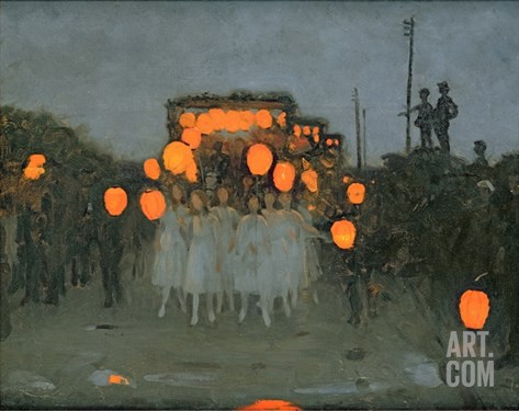 The Lantern Parade c.1918 Stretched Canvas Print