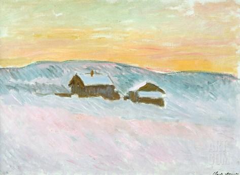 Norwegian Landscape, Blue Houses, 1895 Stretched Canvas Print
