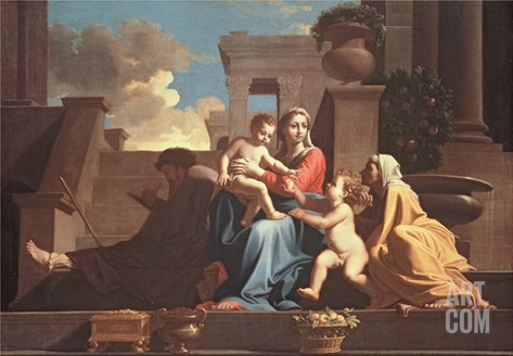 Holy Family on the Steps, C1648 Stretched Canvas Print
