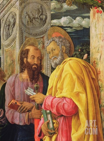 Altarpiece from San Zeno Maggiore, Verona, Detail of the Left Hand Panel Stretched Canvas Print