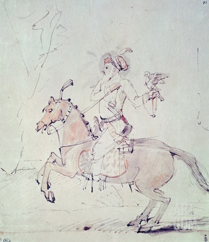 Shah Jehan with Falcon on Horseback (Pen and Ink and W/C on Paper) Stretched Canvas Print