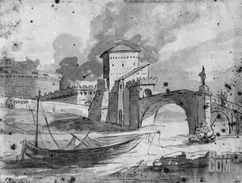View of the Tiber Near the Bridge and the Castle Sant'Angelo in Rome, C.1775-80 Stretched Canvas Print