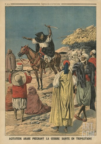 Arab Agitator Preaching the Holy War in Tripolitania, Illustration from 'Le Petit Journal' Stretched Canvas Print