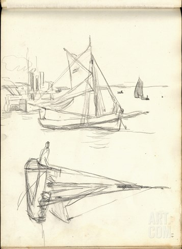 Studies of Boats (Pencil on Paper) Stretched Canvas Print