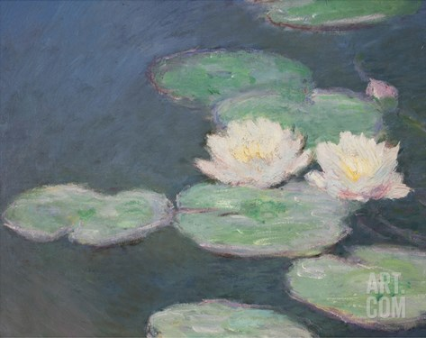 Waterlilies, Evening; Detail Stretched Canvas Print