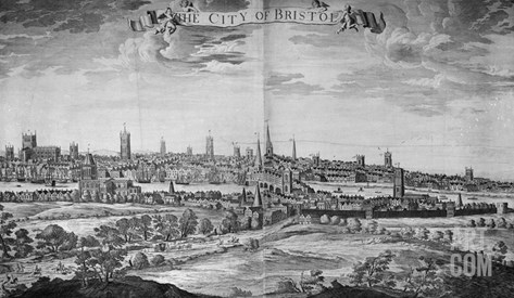 The City of Bristol (With Key), 1717 (Engraving) Stretched Canvas Print