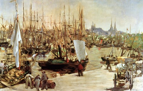 The Port of Bordeaux, 1871 Stretched Canvas Print