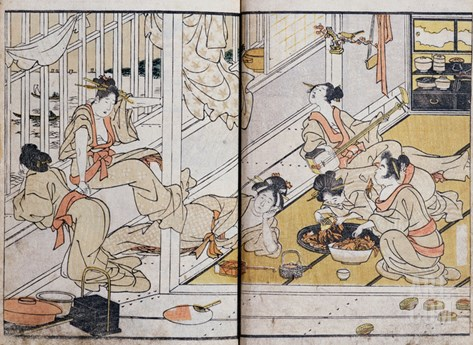 Women Eating, from a Manga (Colour Woodblock Print) Stretched Canvas Print