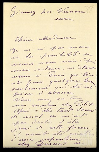 Letter from Claude Monet to Berthe Morisot, 1888 (Pen and Ink on Paper) Stretched Canvas Print