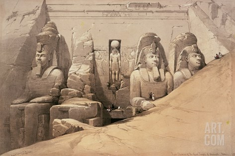 Front Elevation of the Great Temple of Aboo Simbel, Nubia, from 'Egypt and Nubia' Stretched Canvas Print