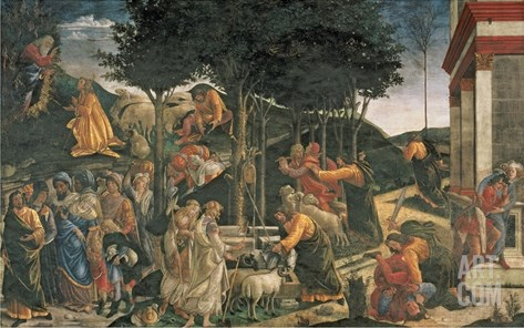 The Youth of Moses, in the Sistine Chapel, 1481 (Fresco) (For Detail See 315896) Stretched Canvas Print