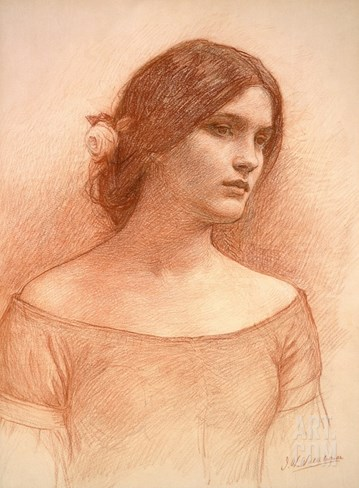Study for 'The Lady Clare', C.1900 (Red Chalk on Paper) (See 55018) Stretched Canvas Print
