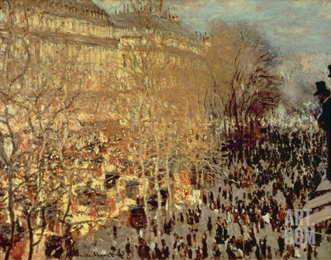 Boulevard Des Capucines, 1873 Stretched Canvas Print
