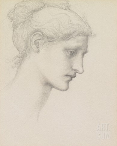 Study for Laus Veneria, C.1875 (Pencil on Paper) Stretched Canvas Print
