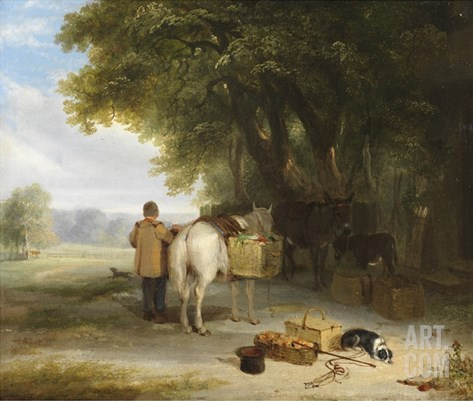 Off to Market (Oil on Panel) Stretched Canvas Print