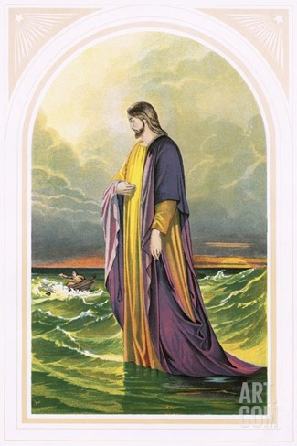Christ Walking on the Sea Stretched Canvas Print