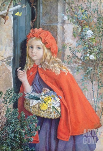 Little Red Riding Hood, 1862 (W/C and Gouache on Paper) Stretched Canvas Print