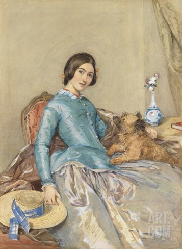 Portrait of Jane, Countess of Aylesford, 1849 (W/C Heightened with White) Stretched Canvas Print