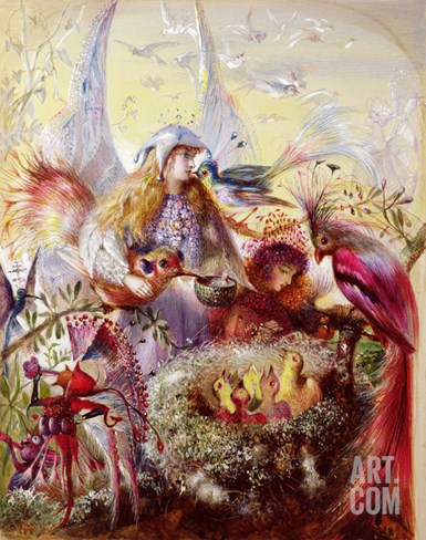 Fairies with Birds (W/C) Stretched Canvas Print