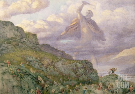 The God Thor Chasing the Dwarfs, 1878 (W/C) Stretched Canvas Print