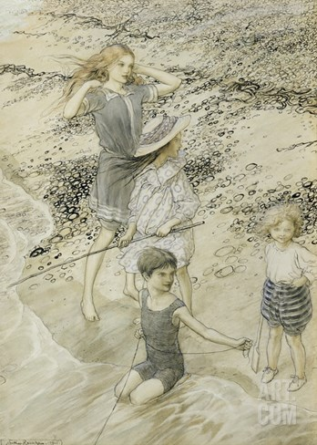 Four Children at the Seashore, 1910 (W/C on Paper) Stretched Canvas Print