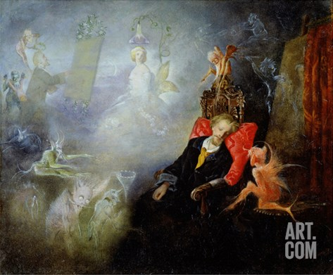 The Artist's Dream, 1857 (Oil on Millboard) Stretched Canvas Print