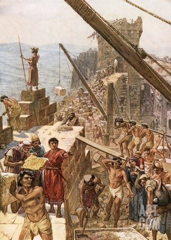 Rebuilding the Wall of Jerusalem under Nehemiah Stretched Canvas Print