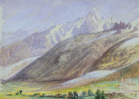 Mountain Scene, 23rd June 1858 (W/C on Paper) Stretched Canvas Print