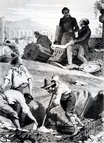 The Excavations at Torre Vergata, from 'Memoires D'Outre-Tombe' by Chateaubriand, 1850 (Litho) Stretched Canvas Print