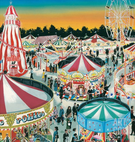 The Fair (Gouache on Paper) Stretched Canvas Print