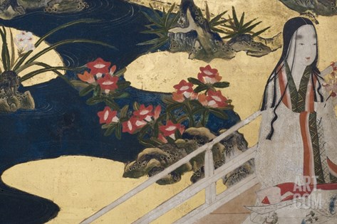 Detail of Spring in the Palace, Six-Fold Screen from 'The Tale of Genji', C.1650 Stretched Canvas Print