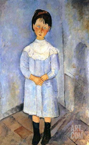 Girl in Blue, 1918 Stretched Canvas Print