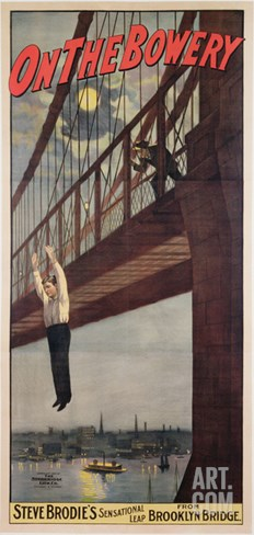 On the Bowery, Steve Brodie's Sensational Leap from Brooklyn Bridge 1886 Stretched Canvas Print