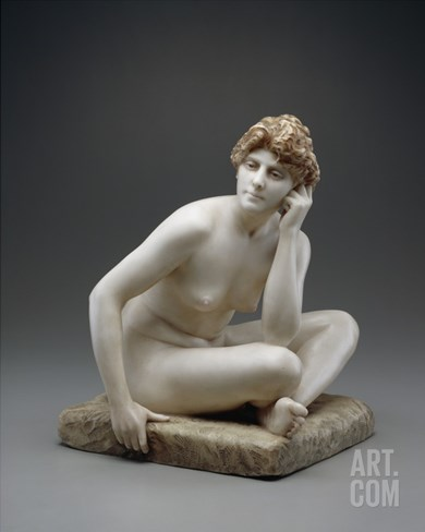 Seated Woman, C.1890/95 (Marble with Original Wax and Polychromy) Stretched Canvas Print