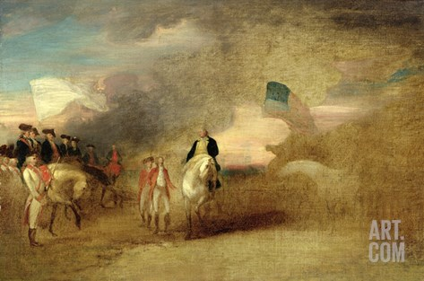 Surrender of Cornwallis at Yorktown, 1787 (Oil on Canvas) Stretched Canvas Print
