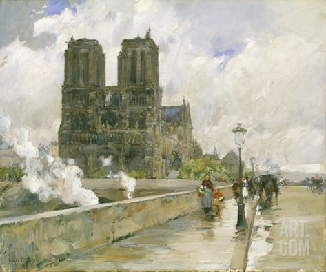 Notre Dame Cathedral, Paris, 1888 Stretched Canvas Print