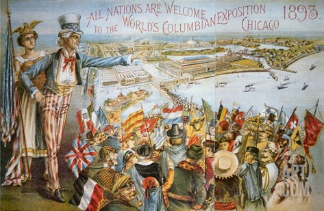 Poster Advertising the World's Columbian Exposition, Chicago 1893 (Colour Litho) Stretched Canvas Print