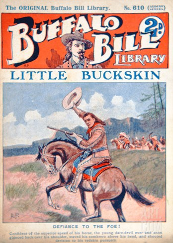 Little Buckskin, Cover Illustration from 'Buffalo Bill Library', C.1920 (Colour Litho) Stretched Canvas Print
