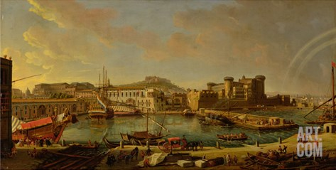 The Port at Naples (View of the Castel Nuovo at the Palazzo Reale), 1711 Stretched Canvas Print