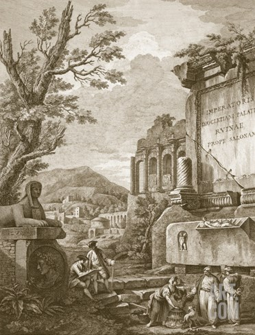 Plate I, from 'Ruins of the Palace of Emperor Diocletian at Spalatro in Dalmatia', Published 1764 Stretched Canvas Print